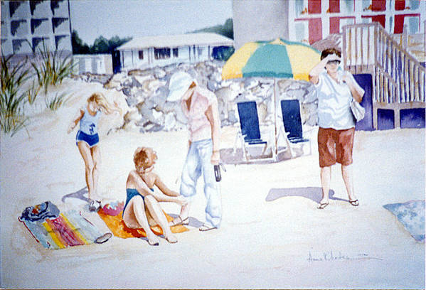 Beach Art Print featuring the painting Day At The Beach by Anne Rhodes