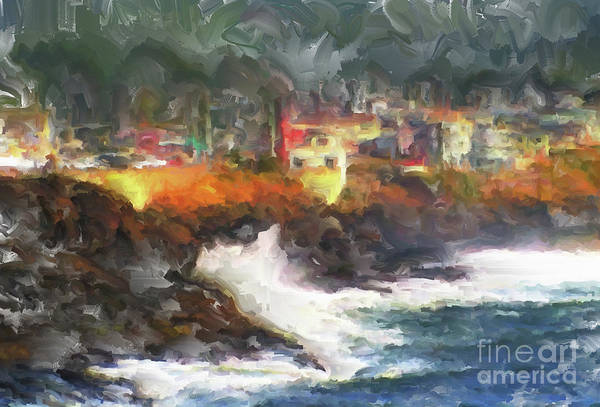 Depoe Bay Oregon Art Print featuring the painting Depoe Bay Oregon by Methune Hively