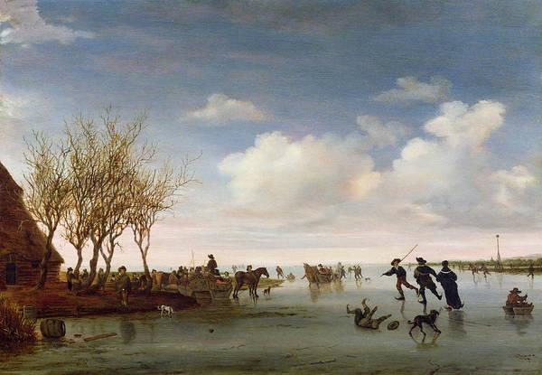 Dutch Art Print featuring the painting Dutch Landscape With Skaters by Salomon van Ruysdael