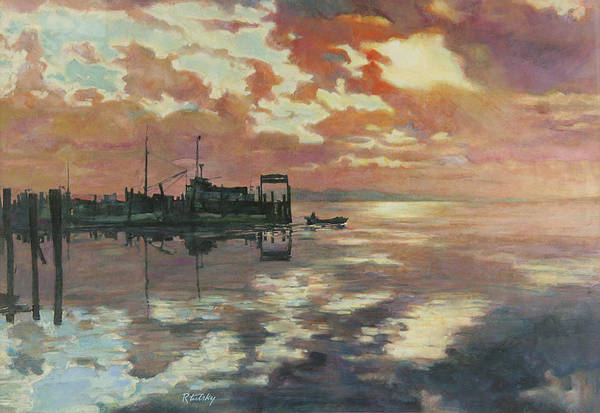 Harbor Art Print featuring the painting Early Departure by Robert Tutsky