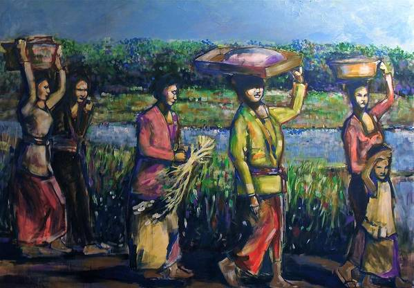 Bali Art Print featuring the painting Early Morning In Bali by Fakhri Bohang