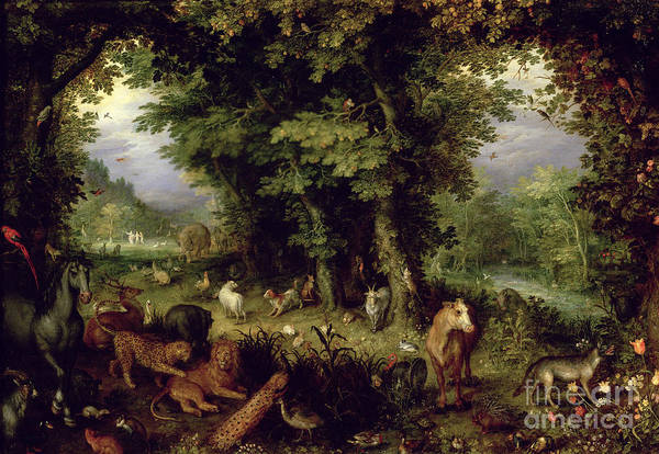 Animal; Animals Print featuring the painting Earth Or The Earthly Paradise by Jan the Elder Brueghel