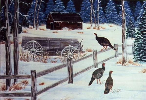 Wildlife Turkeys Landscape Snow Winter Birds Art Print featuring the painting Edge Of The Field by Eileen Blair