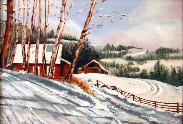 Snow Art Print featuring the painting Elephant Mountain Ranch by Susan Moore