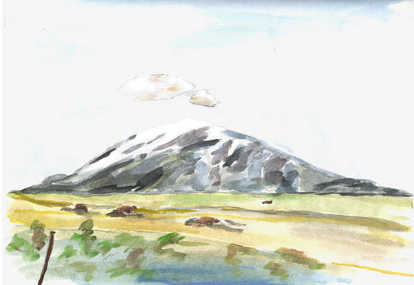 Kevin Callahan Art Print featuring the painting Elk Mountain Wyoming by Kevin Callahan