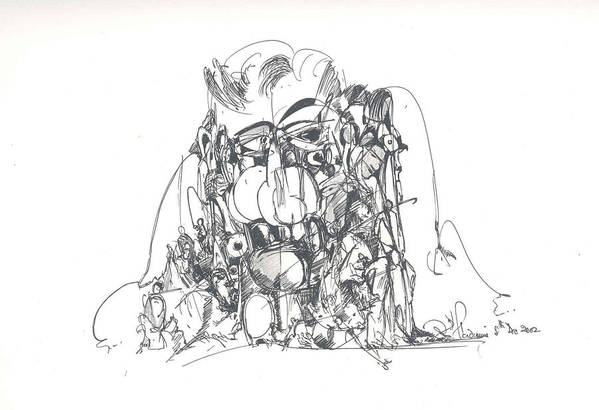 Human Forms Art Print featuring the drawing Embedded In Rock by Padamvir Singh