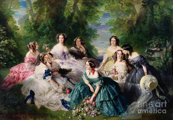 Empress Art Print featuring the painting Empress Eugenie Surrounded By Her Ladies In Waiting by Franz Xaver Winterhalter