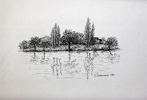 Landscape Art Print featuring the drawing Etang by Muriel Dolemieux