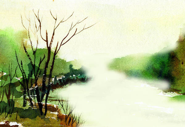 Water Color Art Print featuring the painting Fog1 by Anil Nene