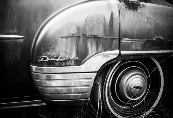 Black And White Art Print featuring the photograph Ford Deluxe Fender Black And White by Alicia Collins