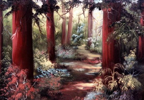 Oil Painting Art Print featuring the painting Forest Path by Joni McPherson