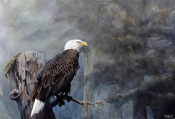 Eagle Art Print featuring the painting Freedom Haze by Steve Goad
