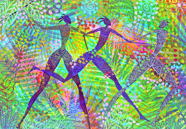 Jungle Tropical Rain Forest Figures Colourful Magical Art Print featuring the painting Freedom In The Rain Forest by Jennifer Baird