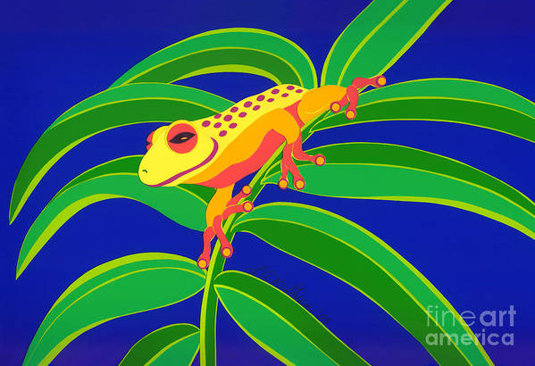 Nature Art Print featuring the drawing Frog On Branch by Lucyna A M Green