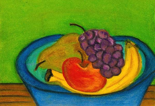 Still Life Art Print featuring the drawing Fruit In Bowl by Katina Cote