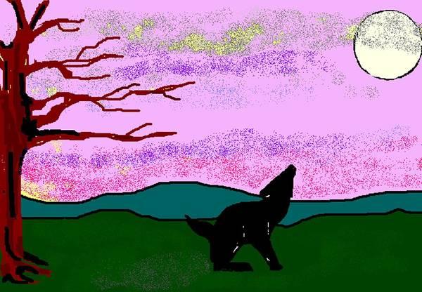 Coyote Art Print featuring the digital art Full Moon by Carole Boyd