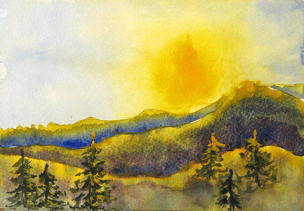 Sunset Art Print featuring the painting Gassaway Sunset by Libby Cagle