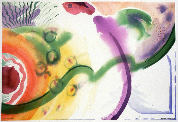 Abstract Art Print featuring the painting Geomantic Blossom Ripening by Eileen Hale