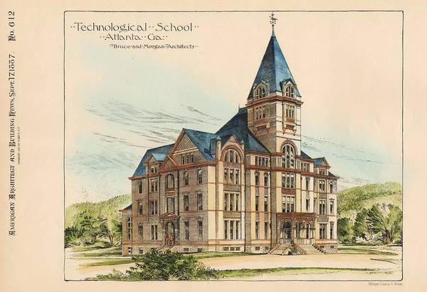 Georgia Art Print featuring the painting Georgia Technical School. Atlanta Georgia 1887 by Bruce and Morgan