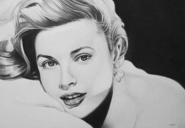 Grace Kelly Kelley Rear Window Actress Hollywood Cary Grant Charcoal Portrait Black And White Pencil Female Woman Print featuring the drawing 'grace' by Steve Hunter