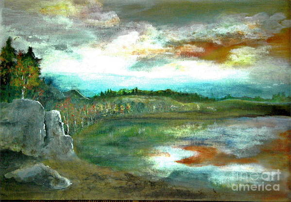 Landscape Art Print featuring the painting Gravel Pit Overgrown by Vivian Mosley