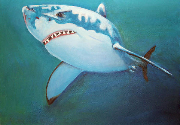 Great White Art Print featuring the painting Great White 3 by Terry Lewey