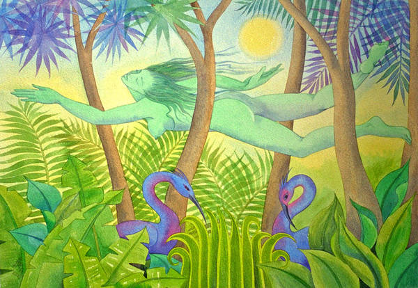Jungle Flying Dream Exotic Birds Tropical Forest Sensuous Art Print featuring the painting Green Lady Flying by Jennifer Baird