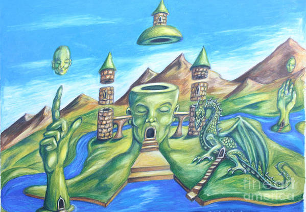 Surreal Landscape Art Print featuring the drawing The Festival by Michael Cook