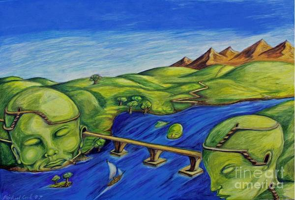 Surreal Fantasy Landscape Art Print featuring the drawing Sounds Of The Heart Beat by Michael Cook