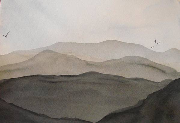 Landscape Art Print featuring the painting Grey Mountains by Liz Vernand
