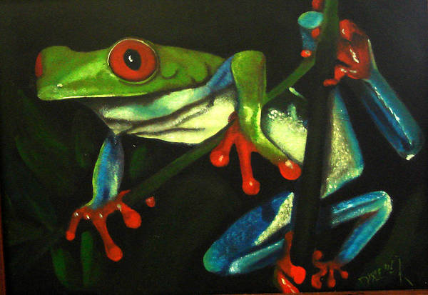 Red Eyed Tree Frog Art Print featuring the painting Hangin Out by Darlene Green