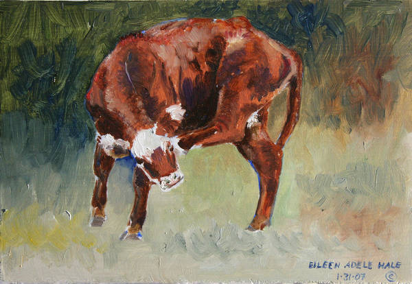 Cow Art Print featuring the painting Head-scratching Heifer Pad by Eileen Hale