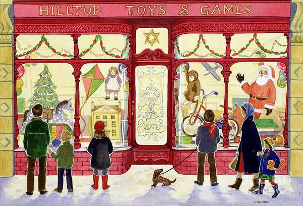 Christmas Print featuring the painting Hilltop Toys And Games by Lavinia Hamer