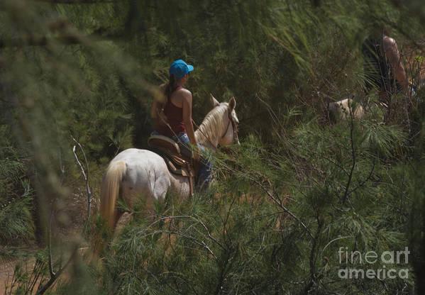 Horseback Art Print featuring the photograph Horseback Riding Kauai Trail by Loriannah Hespe