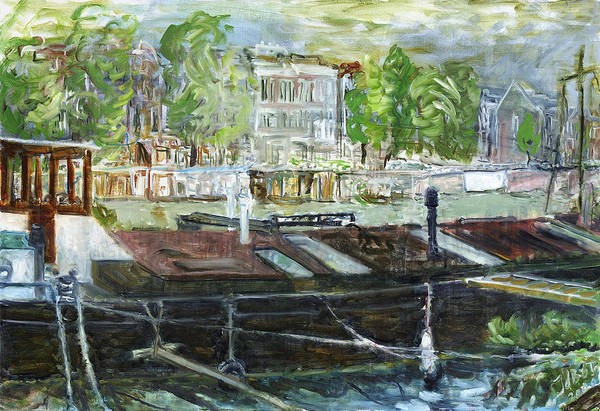 Amsterdam House Boat Canal Trees Houses Sky Water Thunderstorm Art Print featuring the painting House Boat In Amsterdam by Joan De Bot