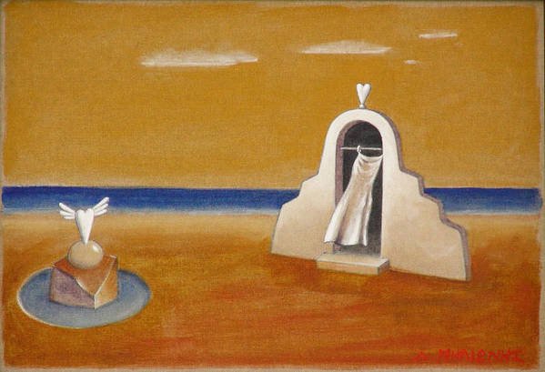Chirico Art Print featuring the painting House Of Eros by Dimitris Milionis