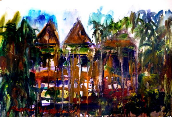 Traditional Thailand Art Print featuring the painting House by Wanvisa Klawklean