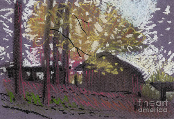 Pastel Art Print featuring the drawing James's Barns 9 by Donald Maier