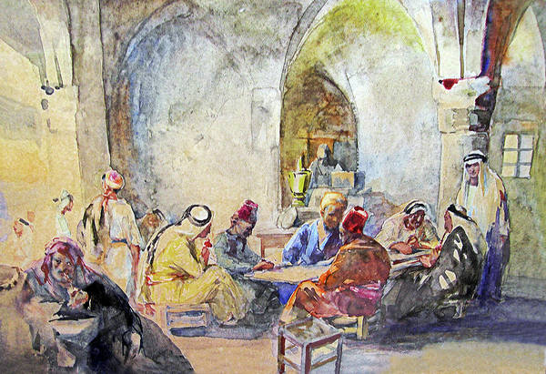 German Art Print featuring the painting Jerusalem Cafe by Munir Alawi