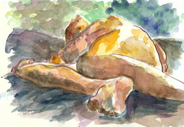 Nude Man Art Print featuring the painting Just Him. by Tali Farchi