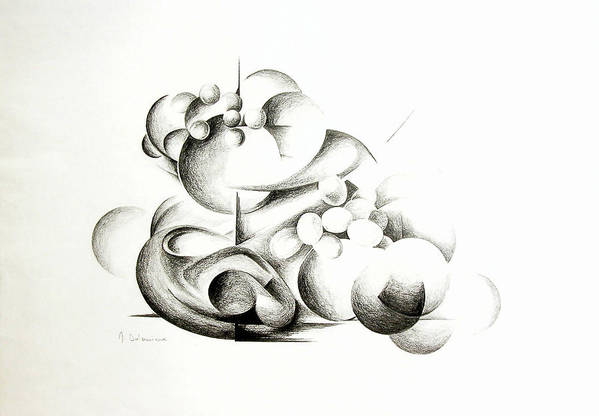 Abstract Art Print featuring the drawing La Guerre Des Bulles by Muriel Dolemieux