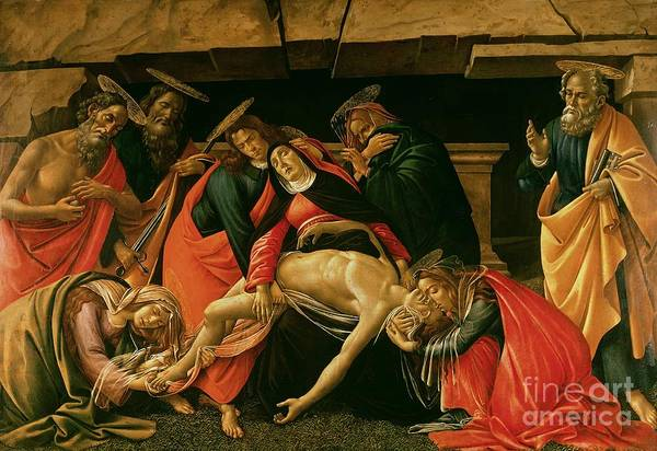 Lamentation Art Print featuring the painting Lamentation Of Christ by Sandro Botticelli