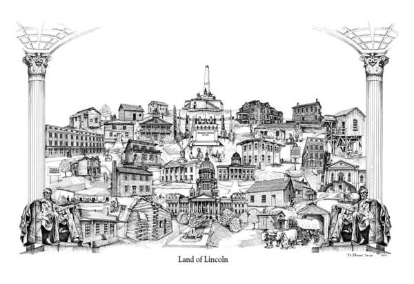 City Drawing Art Print featuring the drawing Land Of Lincoln by Dennis Bivens