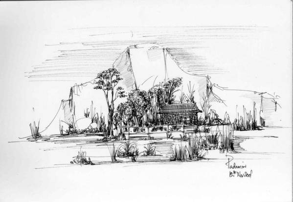 Landscape Art Print featuring the drawing Landscape 1 by Padamvir Singh