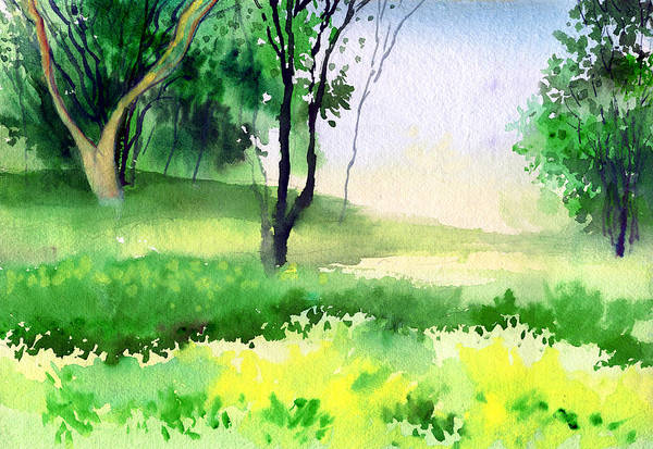 Watercolor Art Print featuring the painting Let's Go For A Walk by Anil Nene