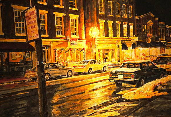 Street Scene Art Print featuring the painting Lexington Street Light by Thomas Akers