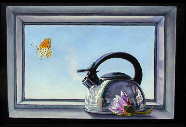 Steam Coming Out Of A Kettle Art Print featuring the painting Life Is A Vapor by John Lautermilch