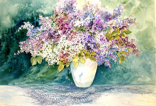 Lilacs;purple Lilacs;vase;floral Watercolor; Art Print featuring the painting Lilacs And Lace by Lois Mountz