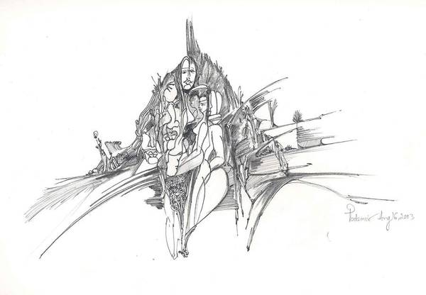 Man Art Print featuring the drawing Lines Of Integration by Padamvir Singh