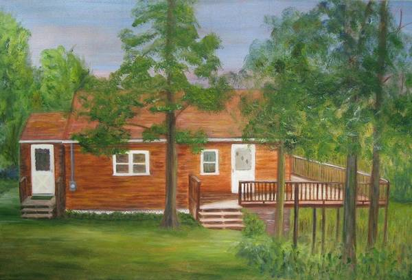 Landscape Art Print featuring the painting Little Cabin In The Big Woods by Patricia Ortman